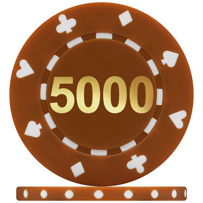 Suited Numbered Poker Chips - Brown 5000 (Roll of 25)