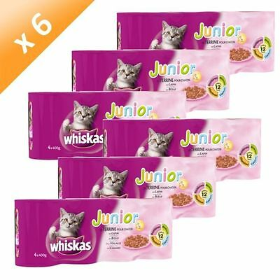 WHISKAS Junior Terrines Pour Chaton 4x400g (x6) - Lot de 6 - WHISKAS NEUF