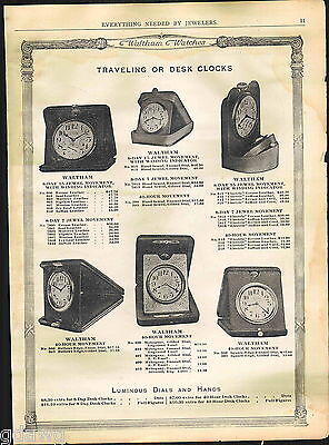 1918 ADVERT Waltham Travel Desk Alarm Clock Pocket Watch Elgin Railroad Watches
