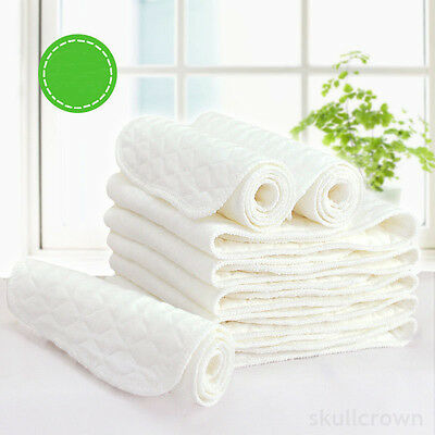 10 pcs insert 3 Layers Cotton Baby Cloth Diaper Nappy Liners Reusable White