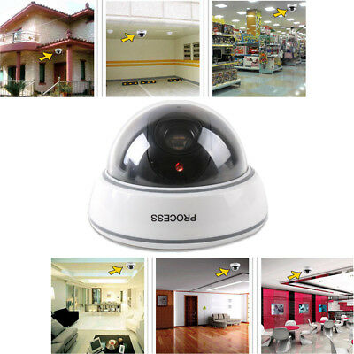 Dummy Home Surveillance CCTV Security Dome Camera w/ Flashing Red LED Light