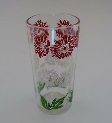 """Vintage Red and White Flower Tall Swanky Swig 4 3/4"""" tall"""