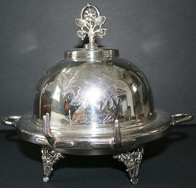 STUNNING antique quadruple silverplate Webster covered butter/cheese w/bird deco