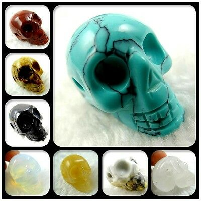 Beautiful Hand-carved skull Mixed agate PENDANT GEMSTONE LOOSE beads B2