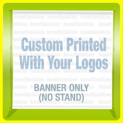 Step Repeat Banner Backdrop 8x8 Ft CUSTOM Printing Full Color FABRIC (NO STAND)