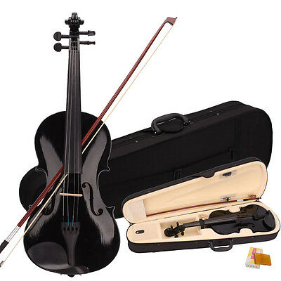 New 4/4 Handmade Student Basswood Black Violin w/ Case Bow Rosin Bridge