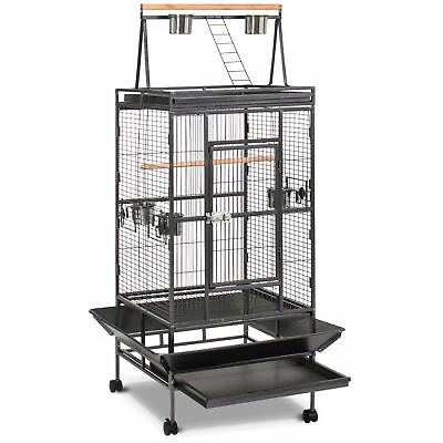 Bird Cage Large Play Top Bird Parrot Finch Cage Macaw Cockatoo Pet Supplies Blk
