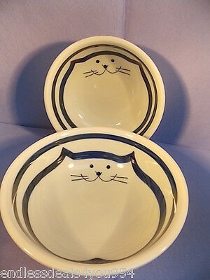 CATS-CHINESE-SET of 2  PORCELAIN BOWLS-HAND PAINTED-BLUE& WHITE