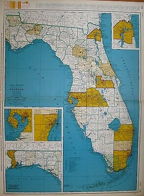 Rare FLORIDA Map with RAILROADS  Vintage 1955 RARE SIZE Map 1668