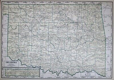 1940 Antique OKLAHOMA Map RARE Poster Print SIZE Map of Oklahoma State Map 1680
