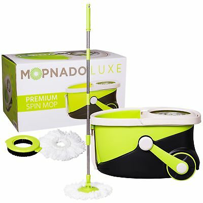 Stainless Steel Deluxe Rolling Spin Mop By Mopnado - Includes Scrub Brush