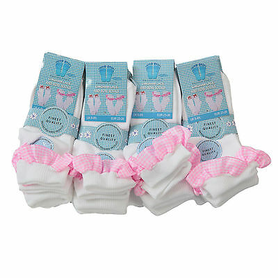 NEW 12 Pairs Children's Girls Lace Frill Bows Checked Socks 3 Colours 3 Sizes