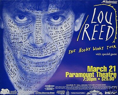 "LOU REED ""HOOKY WOOKY TOUR"" 1996 DENVER CONCERT POSTER - Words On Lou's Face"