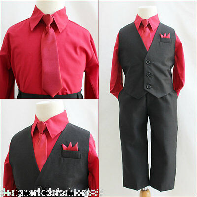 Solid Black Red boy 4 pc set vest and tie wedding party formal suit all sizes