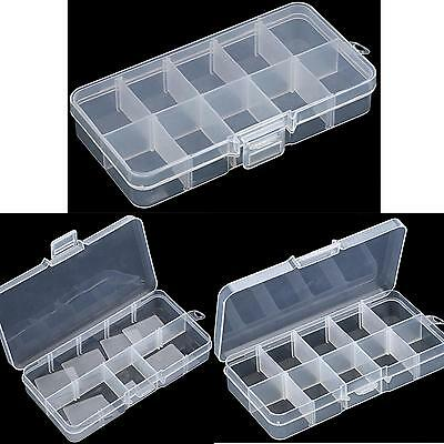 10 Cells Empty Storage Case Box for Nail Art Tips Gems - Translucent