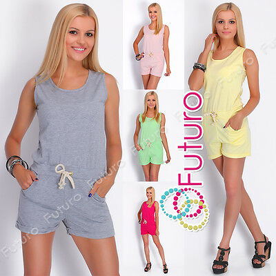 Casual Ladies Playsuit With Pockets Sleeveless Party Jumpsuit Size 8-12 2517