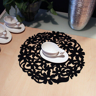 Round Laser Cut Flower Felt Placemats Kitchen Dinner Table Coasters Mats 30x30cm