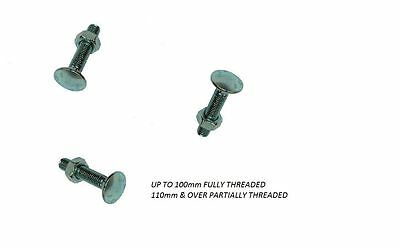 M6 6mm  BZP SQUARE CARRIAGE/ COACH BOLT DOMED HEAD WITH NUT +2 WASHERS PER BOLT