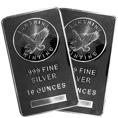 Lot of 2 - 10 Troy oz Sunshine Mint .999 Fine Silver Bar Mint Mark SI Sealed