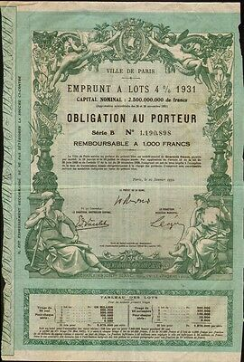 Ville de / City of Paris Bond dd 1931 / 1932 no cancellation holes