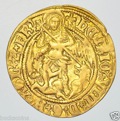 VERY RARE HENRY VIII HALF ANGEL [1526-44] mm. LIS, BRITISH HAMMERED GOLD COIN