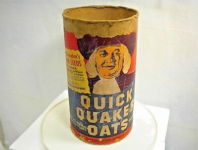 Vintage Quaker Oats Container Cardboard Tube Wm Rogers Silverware Flower Seeds