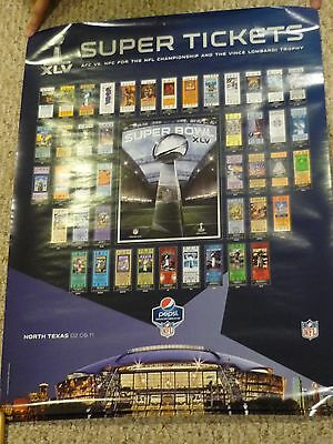 """Super Bowl XLV Super Tickets Trophy Poster 24x36"""" Green Bay Packers vs Steelers"""