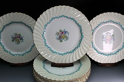 """Minton Ardmore 10.5"""" Dinner Plate Ivory Turquoise Scalloped Rim Set of 12 Plates"""