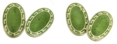 Antique Sterling Guilloche Green Enamel Greek Key Scandinavian Design Cufflinks