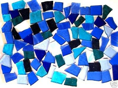 200g Mixed BLUE Stained Glass perfect MOSAIC pieces