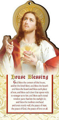 Sacred Heart House Blessing Wooden Plaque Candles Statues Pictures Also Listed