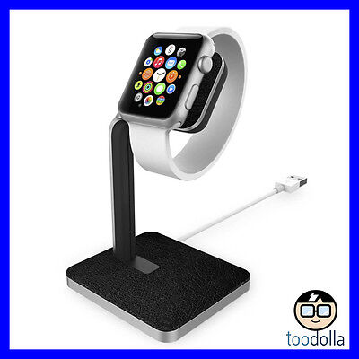 MOPHIE Watch Dock - Premium Aluminium and leather stand and dock - Apple Watch