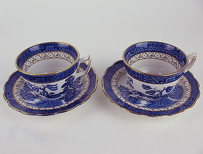 2 x TEA CUPS + SAUCERS Booths REAL OLD WILLOW a8025 vintage blue birds teacups