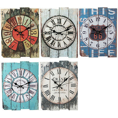 Vintage Wooden Wall Clock Shabby Chic Country Kitchen Home Decoration 30*39cm