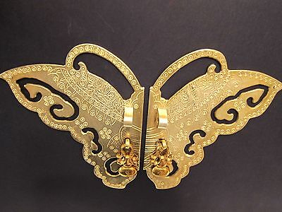 """11"""" Chinese Brass Butterfly Face Plate Door Pull Furniture Hardware 4 Cabinet"""