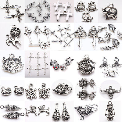 Mix Tibetan Silver Charms Beads Necklace Pendant Jewellery Findings Craft DIY