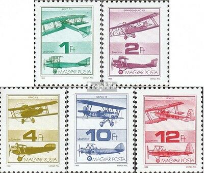 Hungary 3984A-3988A mint never hinged mnh 1988 Historical Aircraft