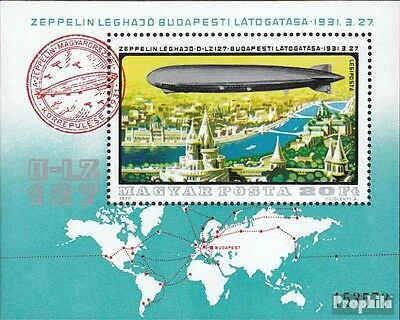 Hungary block127a fine used / cancelled 1977 History of Airship