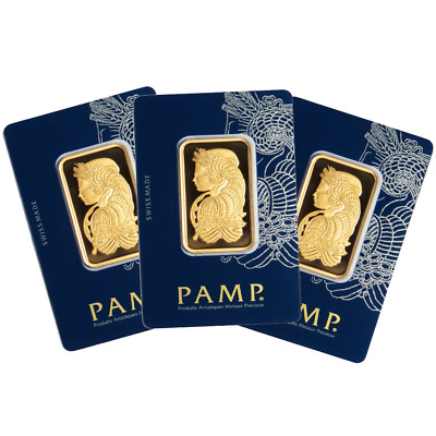 Lot of 3 - 1 Troy oz Pamp Suisse Gold Bar .9999 Fine Fortuna In Assay