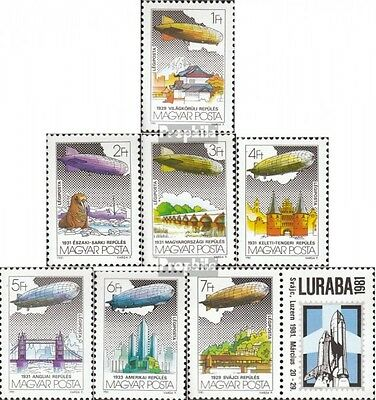 Hungary 3477A-3483A fine used / cancelled 1981 Airship Count Zeppelin