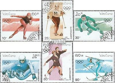 Laos 1210-1215 (complete issue) used 1990 Olympics Winter Games