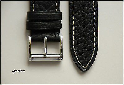 18mm Black Strait End Genuine Leather Buffalo Embos Watch band strap Rolling BKL