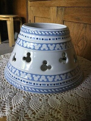 """Pre Owned Disney's Gourmet Mickey Ceramic Lamp Shade For A Jar Candle. 7.5""""dx4""""h"""