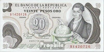 colombia Pick-number: 409d (1982) uncirculated 1982 20 Pesos oro