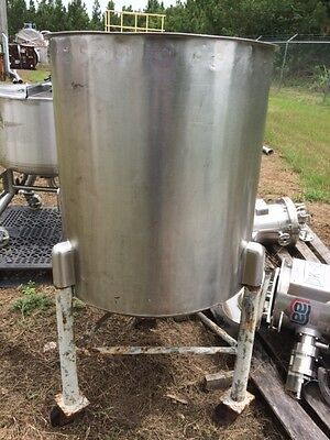 100 Gallon Stainless Steel Vertical Open Top Mix Tank on Castors