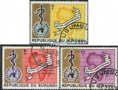 Burundi 466A-468A (complete issue) used 1969 20 years WHO