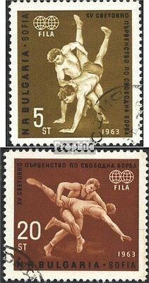 Bulgaria 1383-1384 (complete issue) used 1963 WM in freestyle w