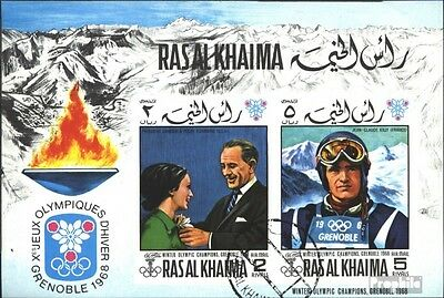 Ras al Khaimah block75b (complete issue) used 1969 olympic. Win