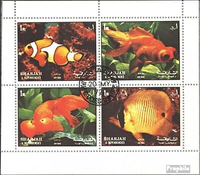 Sharjah 1200-1203 Sheetlet (complete issue) used 1972 Fish II