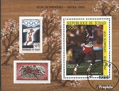Chad block240 (complete issue) used 1988 olympic. Summer ´88, S